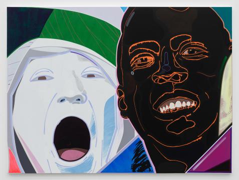 高露迪《球迷》 200×270 cm 布面丙烯,水彩,油彩,油漆,蜡笔 2020-20201,图片由艺术家和空白空间提供