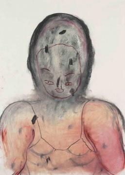 张萌 《本命年 3》,70 × 50 cm 木炭、色粉、纸本 2018