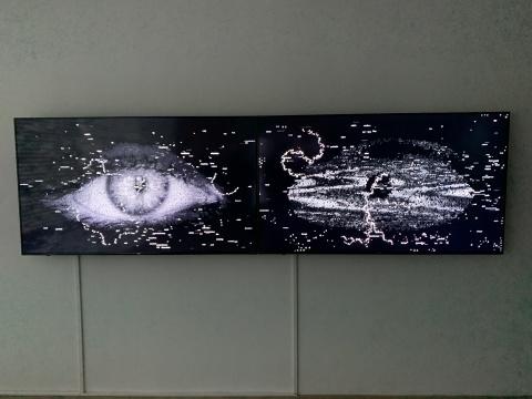 《阅读者2》 双屏70寸高清屏幕、电脑、C++代码 2020