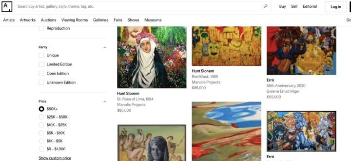艺术品交易网站Artsy截图,不仅标有明确的价格,还可按照媒介、尺寸、版数等分类方法筛选作品