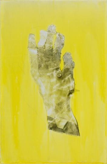 《手(黄背景)》90×60cm 木板油彩、转印 2020