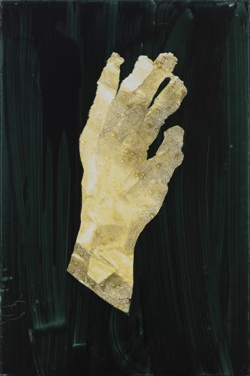 《手(绿背景)》90×60cm 木板油彩、转印2020