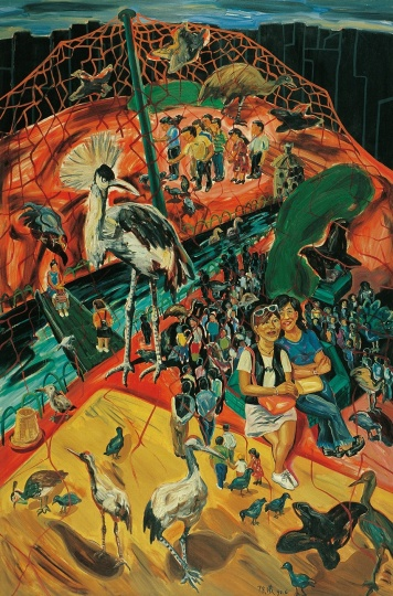 《百鸟园》 300×200cm 布面油画 1997