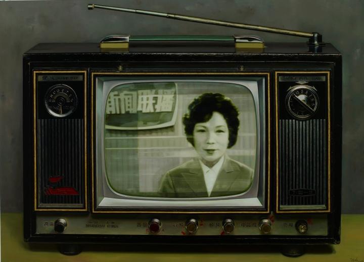 《中国记忆-新闻联播首播》130×180cm 布面油画 2008