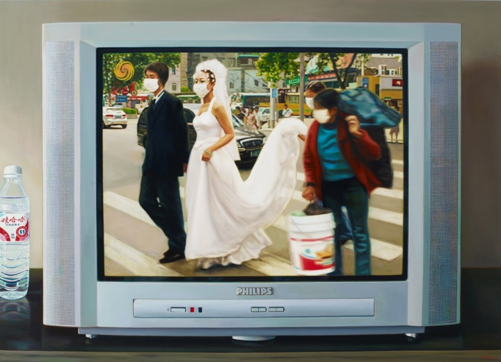 """《中国记忆-""""非典""""时期》130×180cm 布面油画2010"""