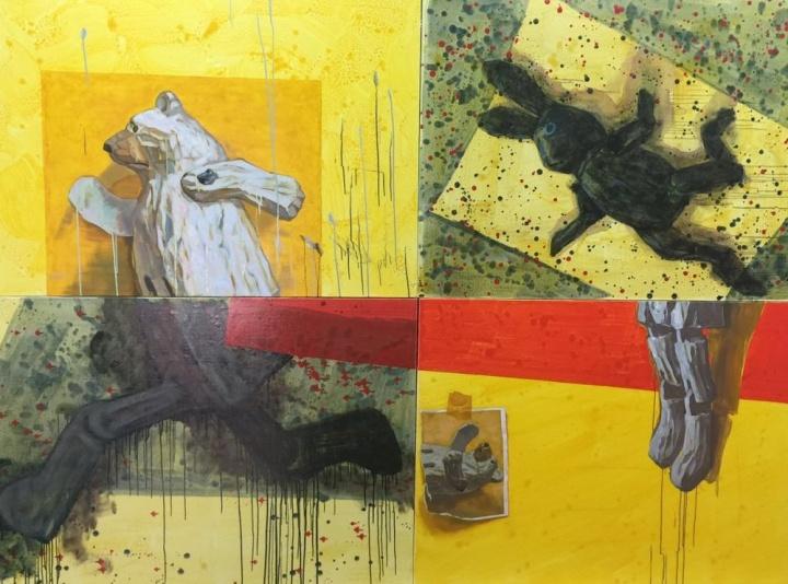 《游戏——黑兔与白熊》120×90cmx4 布面油画 2015