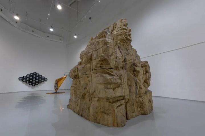 《正在显形》高4米,直径3米双面樟木雕刻 2018