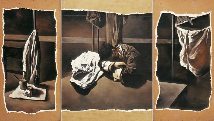 何森 《企图对一个残缺世纪局部的注释》200×350cm布面油画 1989