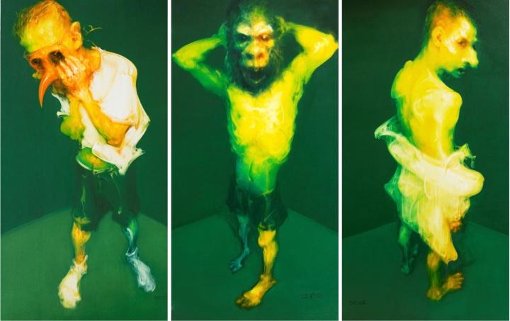 吴建军 《鸟语·从前·转身(三联) 》 250×130cm×3 布面油画 2007-2008