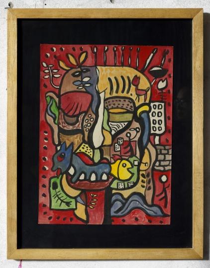 杨述《面具》50×34cm 纸本水彩1990