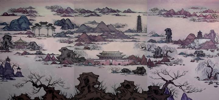 沈娜 《天衢苍阙》350×750cm 布面油画 2010