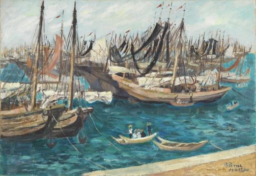 梁运清《渔港》52×75cm 布面油彩 1964  中央美术学院美术馆藏