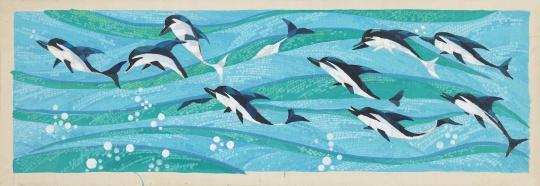 梁运清《冲刺壁画稿》 31×90cm 纸本水粉 1990  中央美术学院美术馆藏
