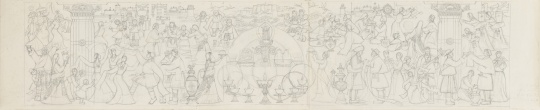梁运清《吉祥如意(人民大会堂西藏厅壁画设计稿)》37×170cm 铅笔、图画纸 1982年3月-6月  中央美术学院美术馆藏