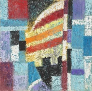 梁运清《墨与彩抽象画幻彩无垠之七》 50×50cm 墨、纸本水粉 2001  中央美术学院美术馆藏