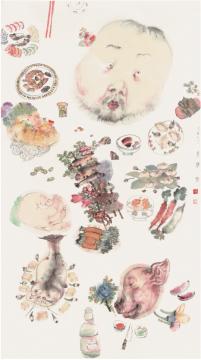 李津《足食者》180×97cm 纸本设色 2006