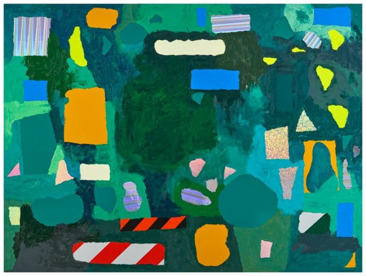金氏彻平 《多域(网球场)#1 》 反光贴纸、油彩、木板 180×240×3.3cm 2016