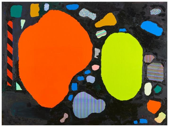 金氏彻平 《多域(溜冰公园)#1》 180×240×3.3cm 反光贴纸、油彩、木板 2016