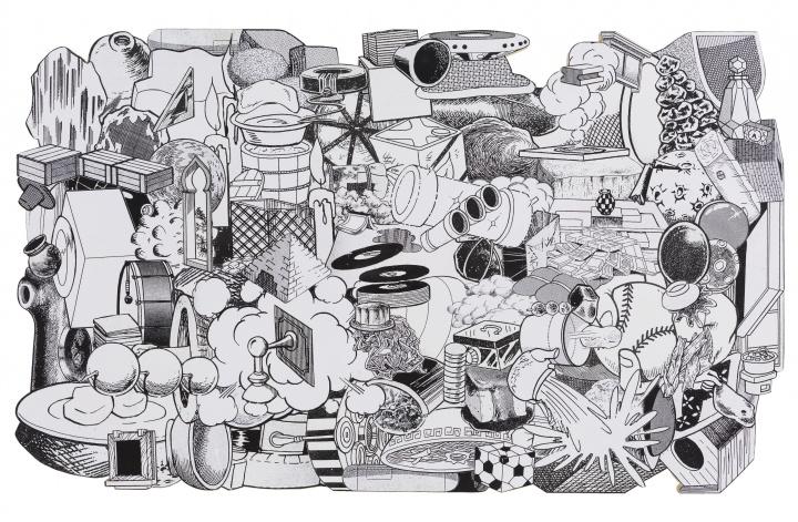 金氏彻平 《游戏,舞蹈和构筑(无处不在)#6》 62×102×2cm木板上拼贴2012