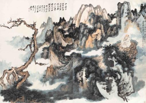 张大千 《黄山奇松通景》207.5×148.5cm×2 立轴 设色纸本 1962