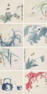 齐白石 《工笔花虫册》34×34 cm×8 册页八开 设色纸本 1936