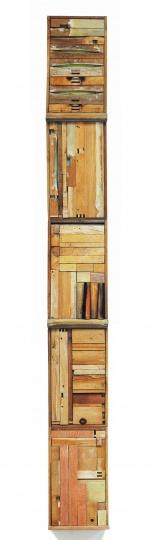 《把桌子装进它的抽屉里》250×30×12cm 木家具、粉笔 2015