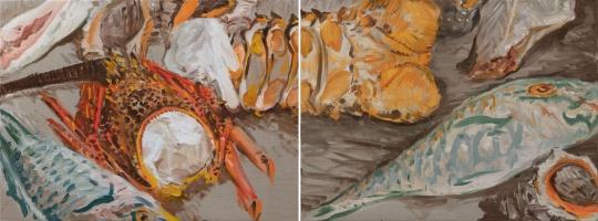倪军《海战之歌(双联)》60 x 160 cm 布面油画 2021