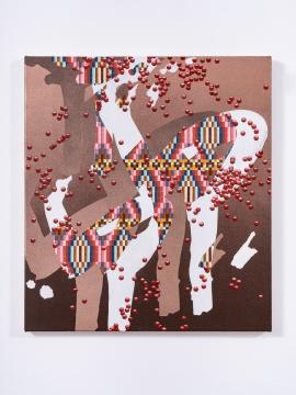 张月薇 《哑元(甲)》51 × 46 cm 布面丙烯、油画及喷漆 2021