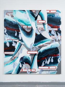 张月薇 《定格涌波》220 × 180 cm 布面丙烯、油画 2021