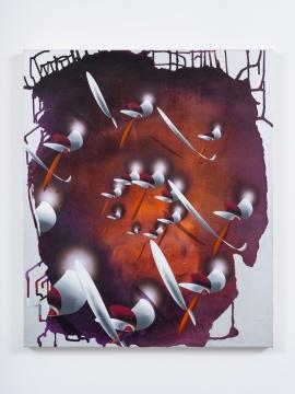 张月薇《螺旋法》95 × 80 cm 布面丙烯、油画及喷漆 2021