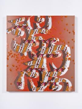 张月薇 《哑元(丙)》51 × 46 cm 布面丙烯、油画及喷漆 2021