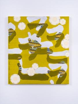 张月薇 《哑元(己)》51 × 46 cm 布面丙烯、油画及喷漆 2021
