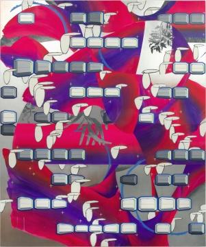 张月薇 《兆植群(标签)》230 × 190 cm 布面丙烯、石墨、油画及喷漆 2019