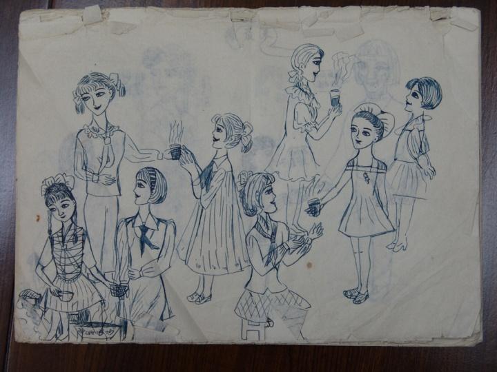陈可小时候的钢笔画