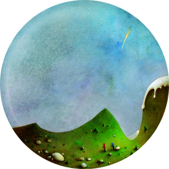 《世界尽头与冷酷仙境》直径80cm 布上油画和丙稀媒介剂 2009