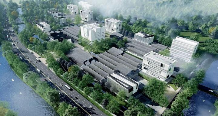 """中国美术学院良渚校区鸟瞰效果图,由建筑师张永和他领衔的建筑事务所""""非常建筑""""设计,预计将于今年年底投入使用"""
