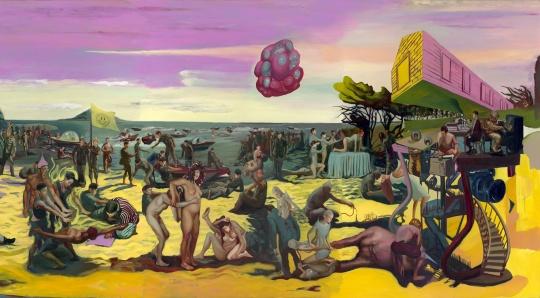 《 永生之岛 》局部 布面油画 1200x300cm 2019