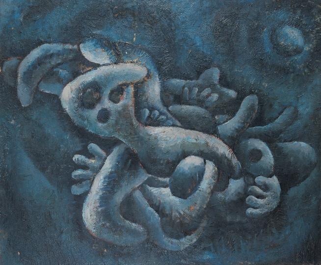 《夜晚的蓝色体积》 82×98cm 纸本油画 1983