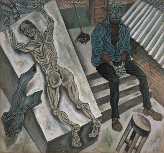 《私人空间·自囚》 96×102cm 板上油画 1987