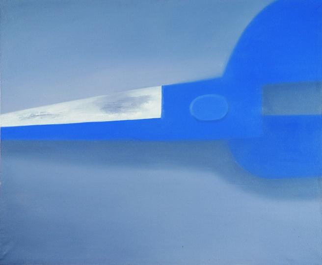 《四分之一蓝色剪刀》 113×138cm 布面油画 2002
