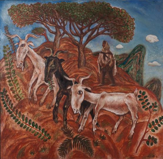 《圭山三月》 90×100cm 布面油画 1986