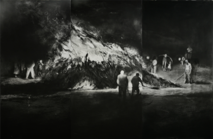 《碎木·杂草和村庄上燃烧的火No.1》 100×150cm 铜版 2014