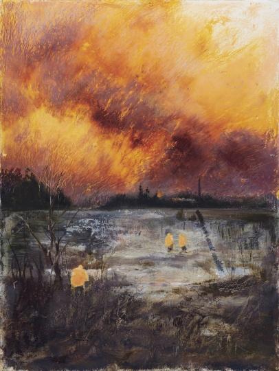《红云》 48×36cm纸本油画棒 2021
