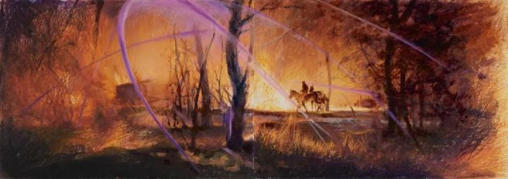 《永不退色的火光》 36×102cm 纸本油画棒2021