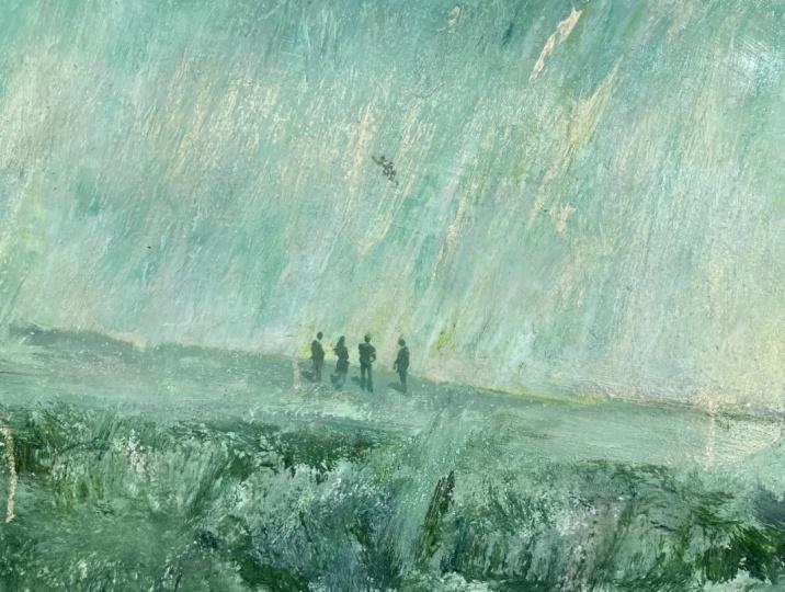 《河谷奇观》36×48cm纸本油画棒 2021