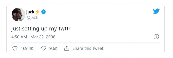 著名社交软件Twitter的CEO杰克·多尔西 (Jack Dorsey) 以超过290万美元的价格出售了他NFT化之后的第一条推文,这条推文最初由Dorsey于2006年3月21日发布。