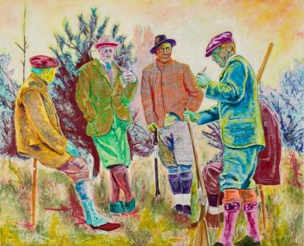 法利·阿吉拉尔 《围猎者》162.6×200.7cm 油画棒、铅笔、亚麻布油画 2021