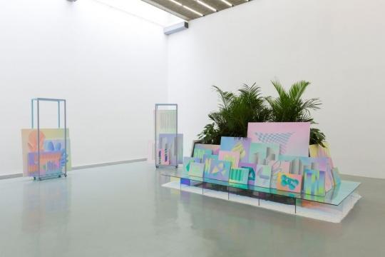 《绘画》布面丙烯,五彩玻璃,植物,金属架子 2017