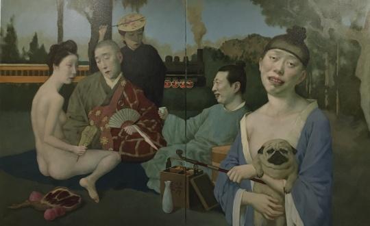 汪翀 《狎妓图》 122×76cm布面油画2021
