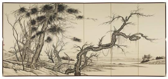 孙逊 《燚秋色》172×379cm 日本屏风,墨 2020